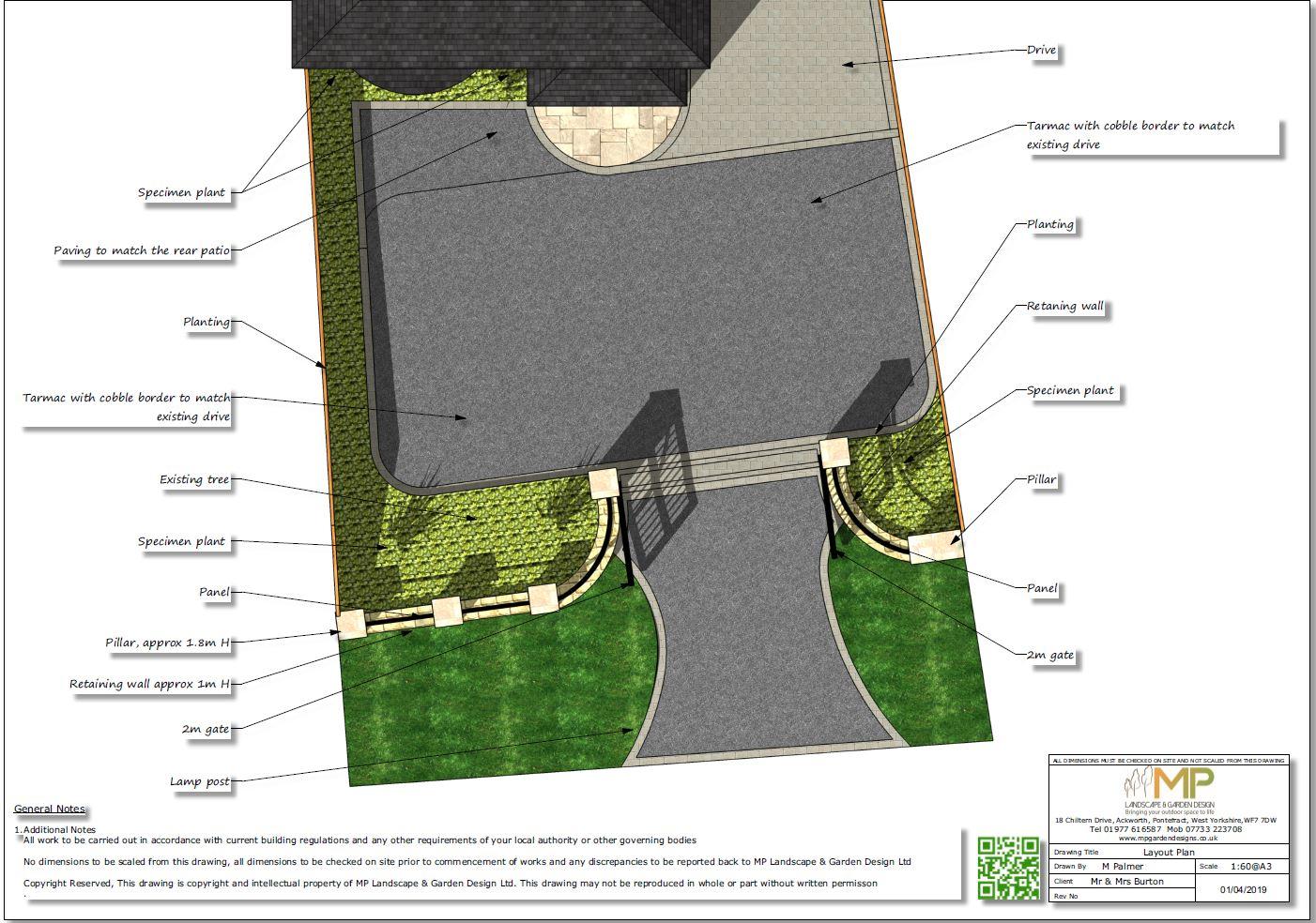 Garden design plans, Ackworth.