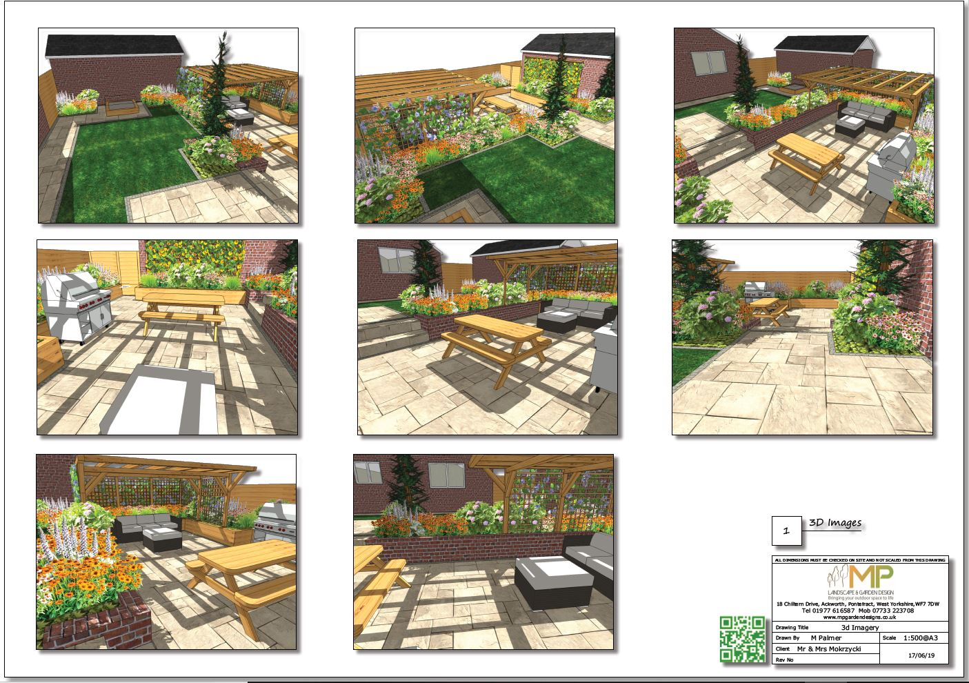 3, 3D Garden layout plan for a property in Normanton, West Yorkshire.