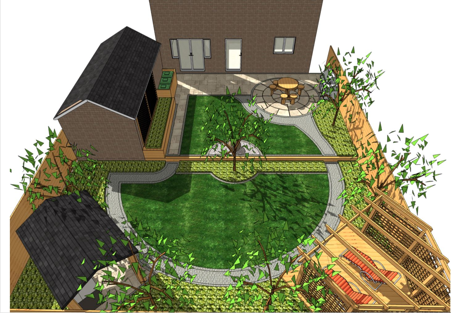 1, Concept plan overview for a rear garden in Pontefract