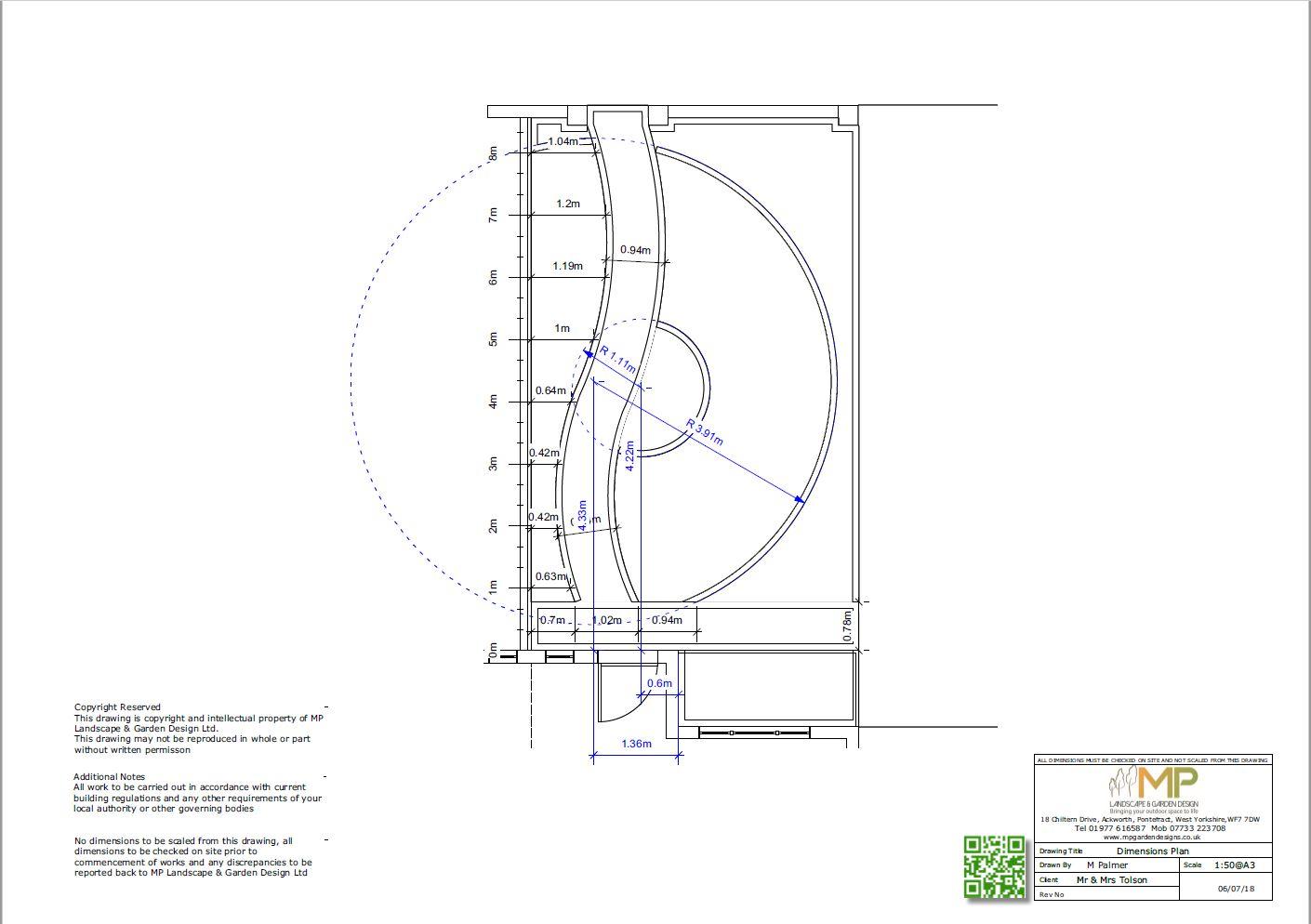 Garden layout dimensions plans for a front garden in Kippax, Leeds