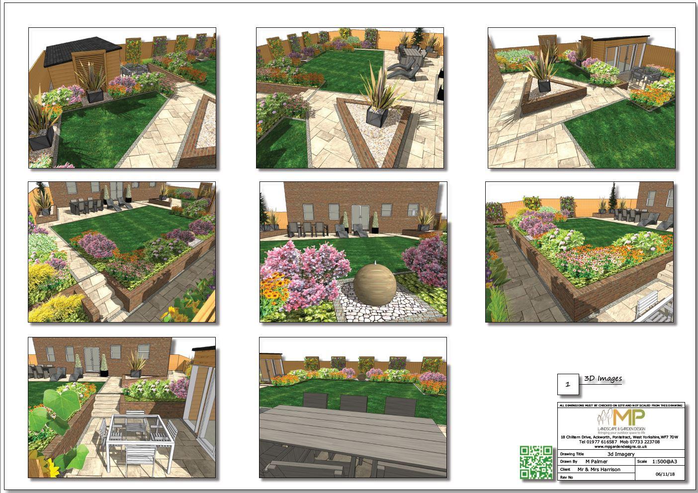 Colour 3D garden design layout plan for a rear garden in Wistow, North Yorshire.
