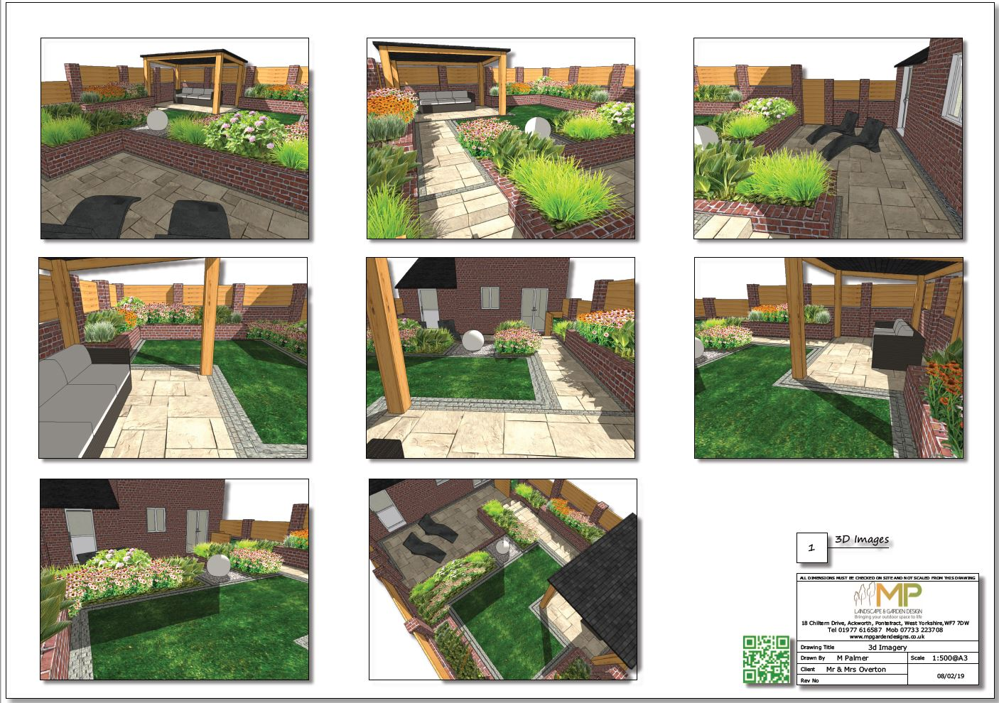 Colour garden layout plan 3D images for a property in Pontefract.