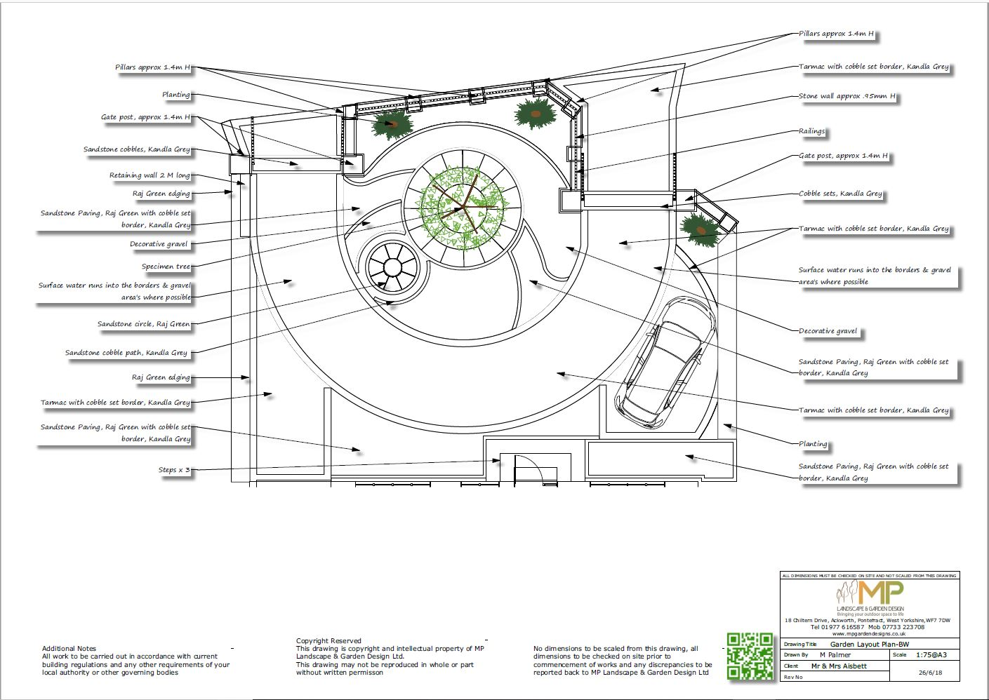 Font garden layout plans black and white for a prperty in Notton, Wakefield