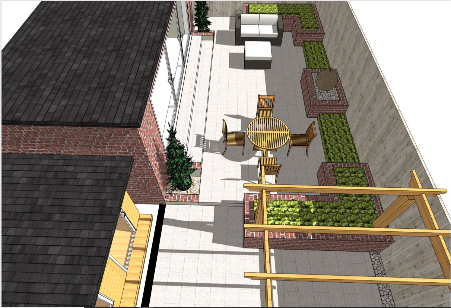 1. Overview, colour concept plan-1 for a rear garden in Wakefield