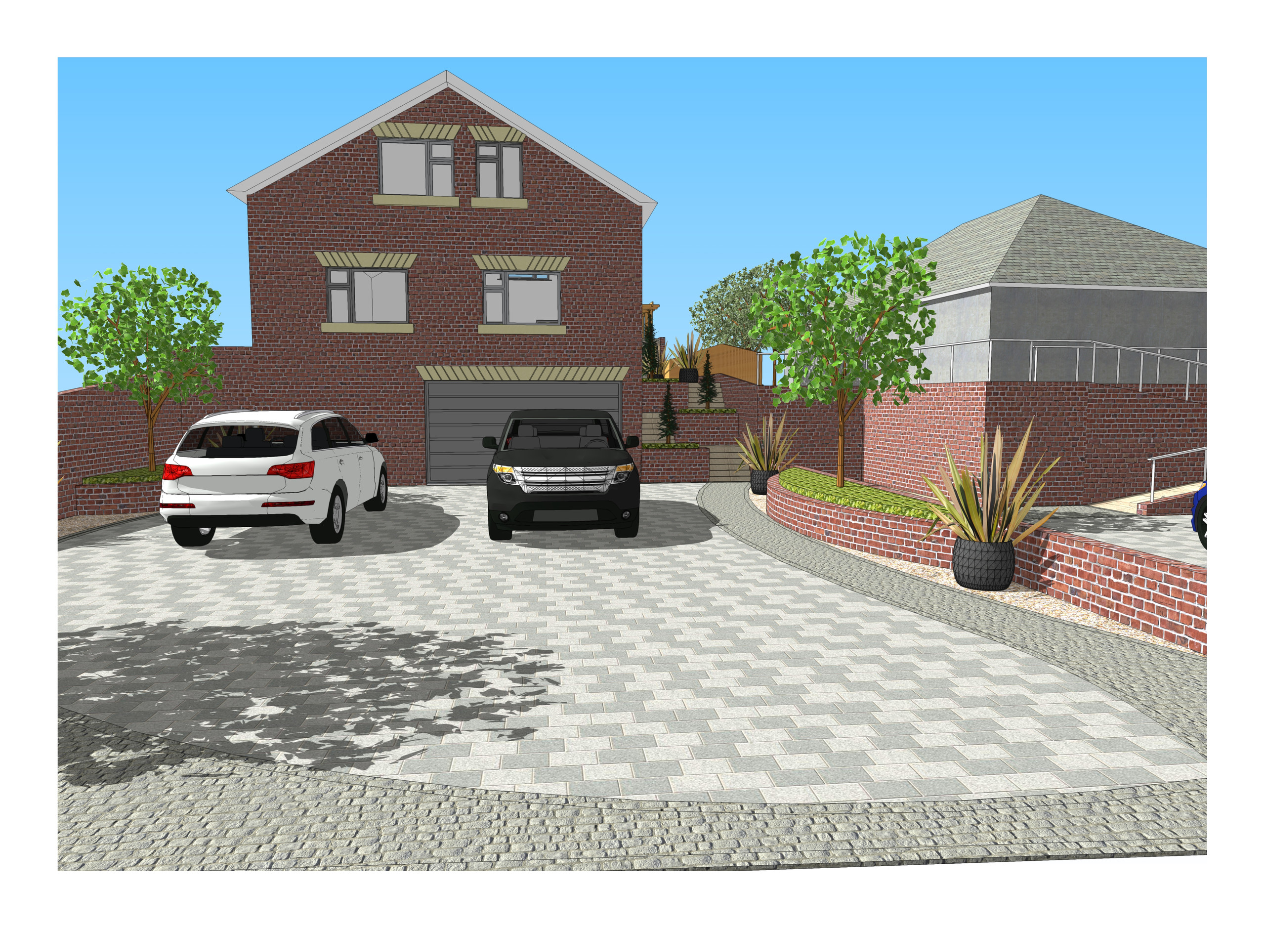 2. 3D images for a new build property in Uton West Yorkshire. Garden designer in Wakefield