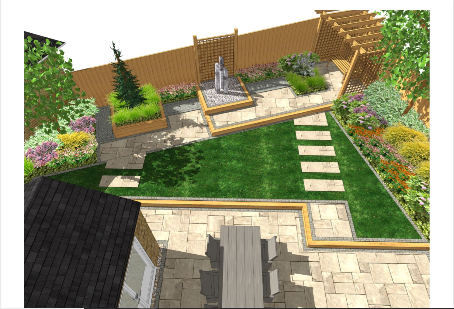 1, Garden layout overview for a rear garden South Kirkby