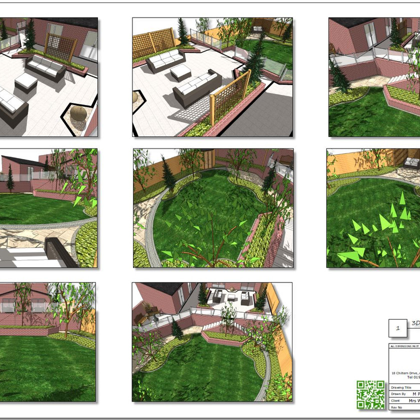 Colour 3D images Concept Plan-2 for a rear garden in Knottingley