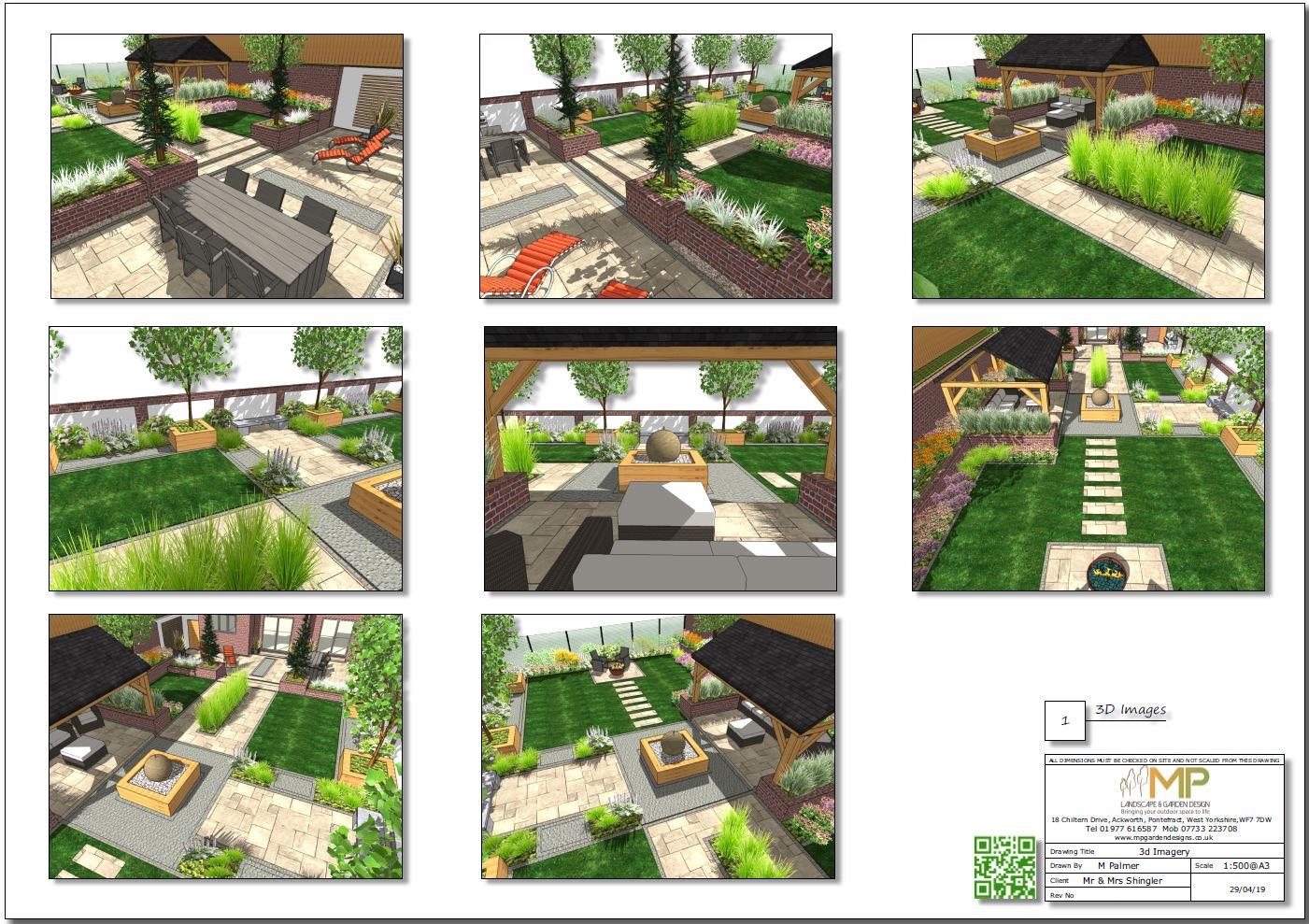 2 Garden layout plan 3D images, Wakefield