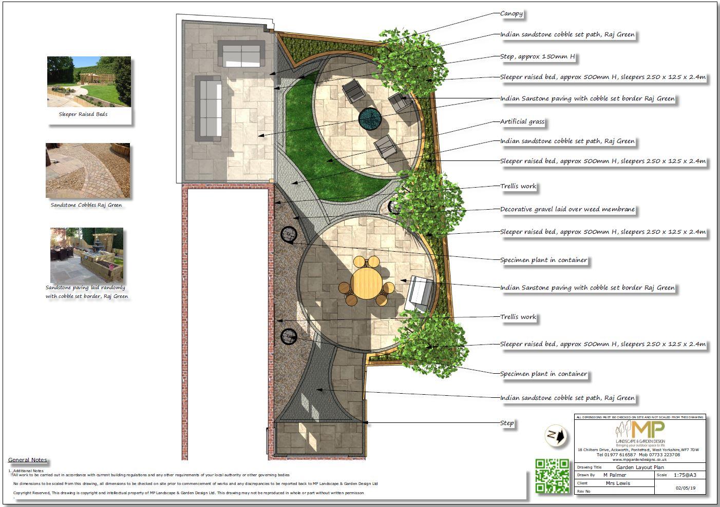 1, Garden layout plans, Castleford.