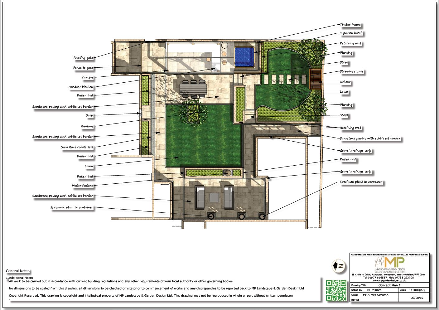 Colour concept plan-1 for a rear garden in Pollington