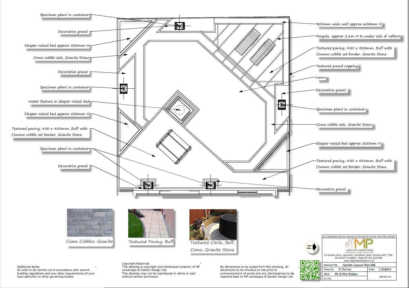 Garden layout black and white plans for a rear garden in Notton