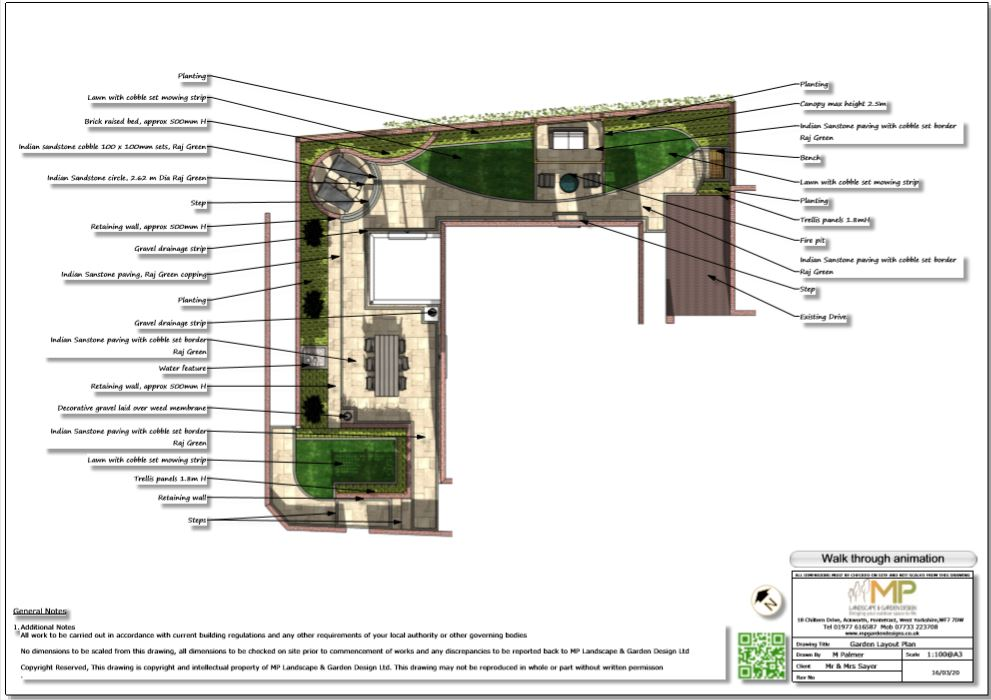2, Garden layout plan for a property in Castleford.