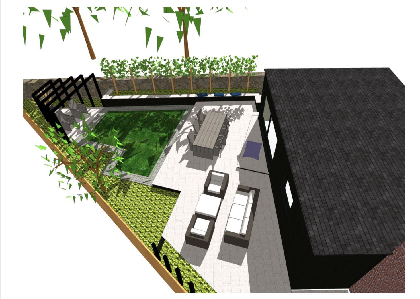 1, Overview of a garden design in Stanley, Wakefield