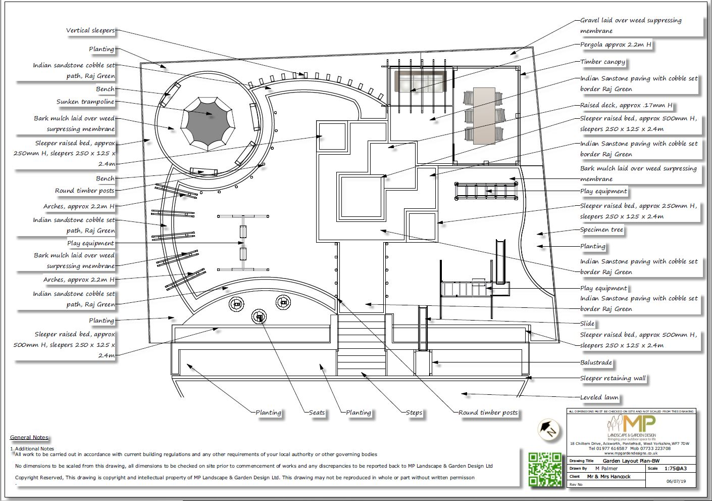 2, Childrens play garden, black and white layout plan, Pontefract
