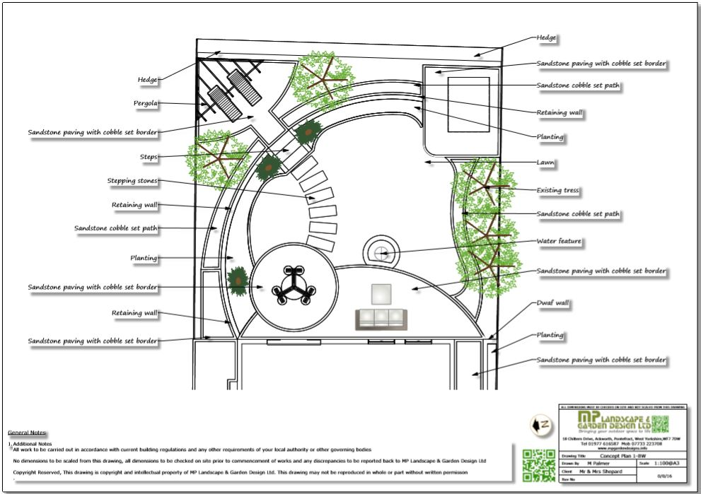 3, Concept plan,1 for a rear garden in Wakefield