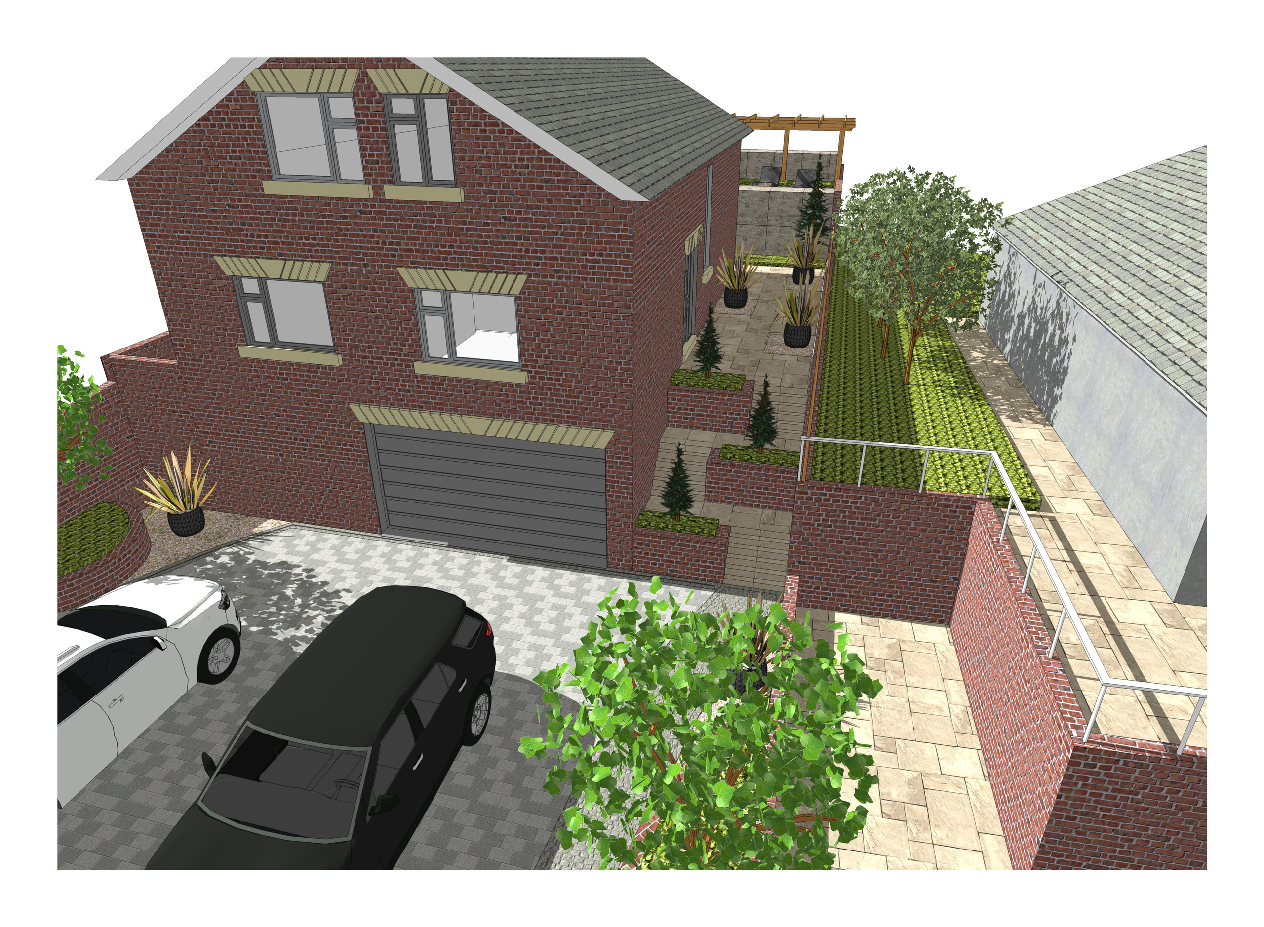 1. 3D images for a new build property in Uton West Yorkshire. Garden designer in Wakefield