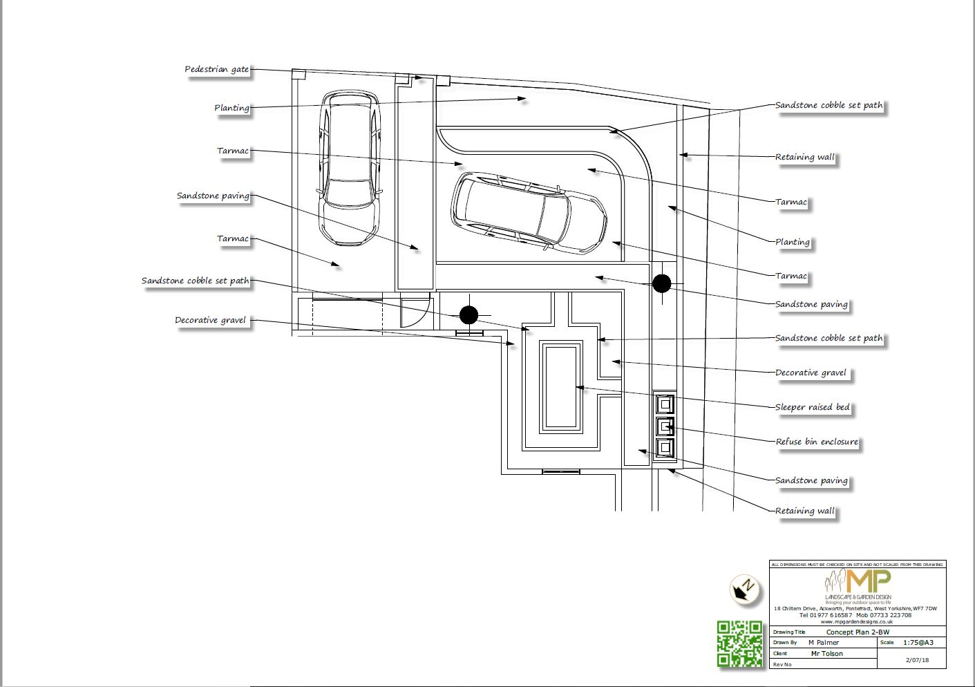 Front garden design concept plan-2 black and white for a property in Kippax.