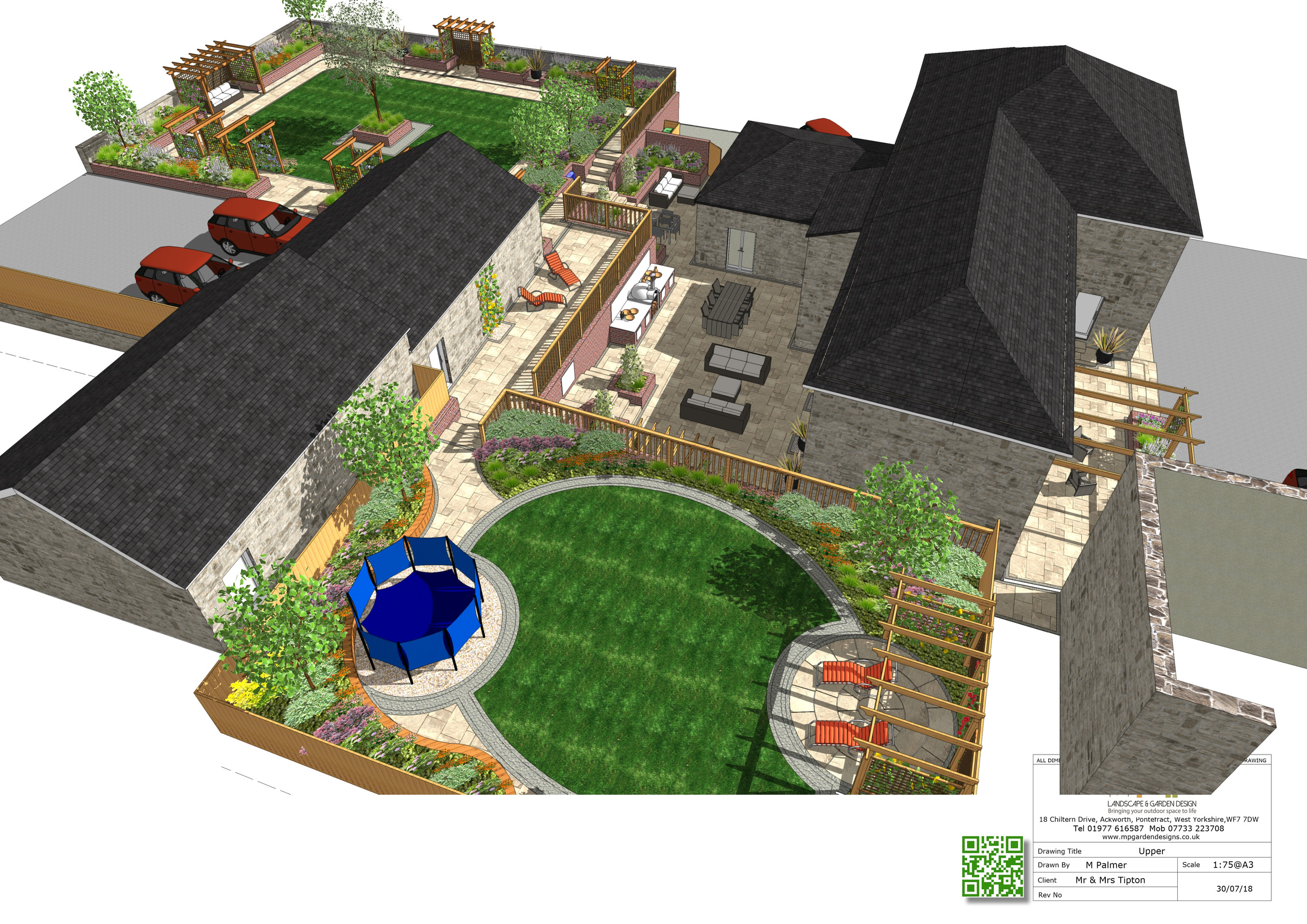 4, 3D views of a landscape design for a barn conversion in Castleford, West Yorkshire.