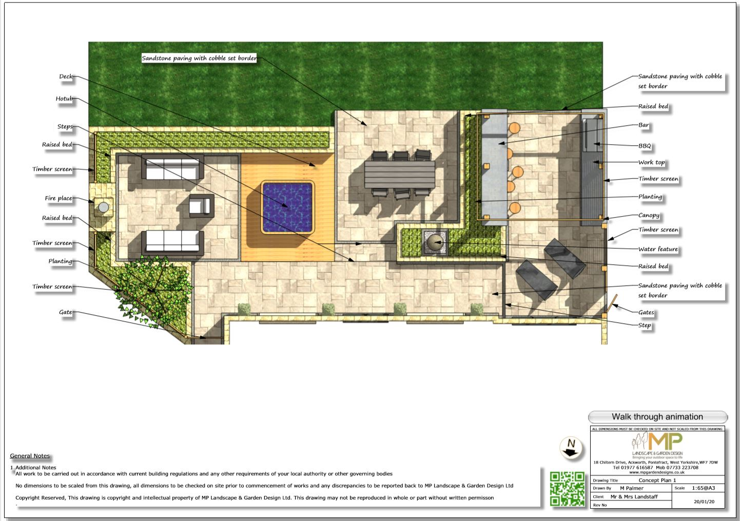 1. Colour concept plan for a rear patio area in Wakefield