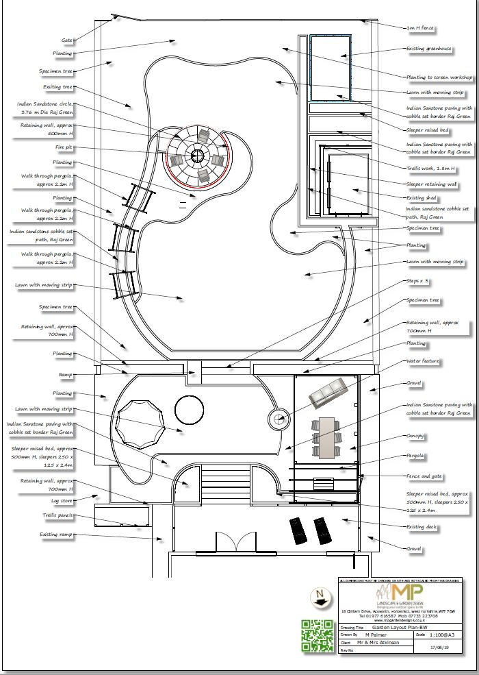 3. Landscape design layout black and white plan for a property in Little Smeaton.