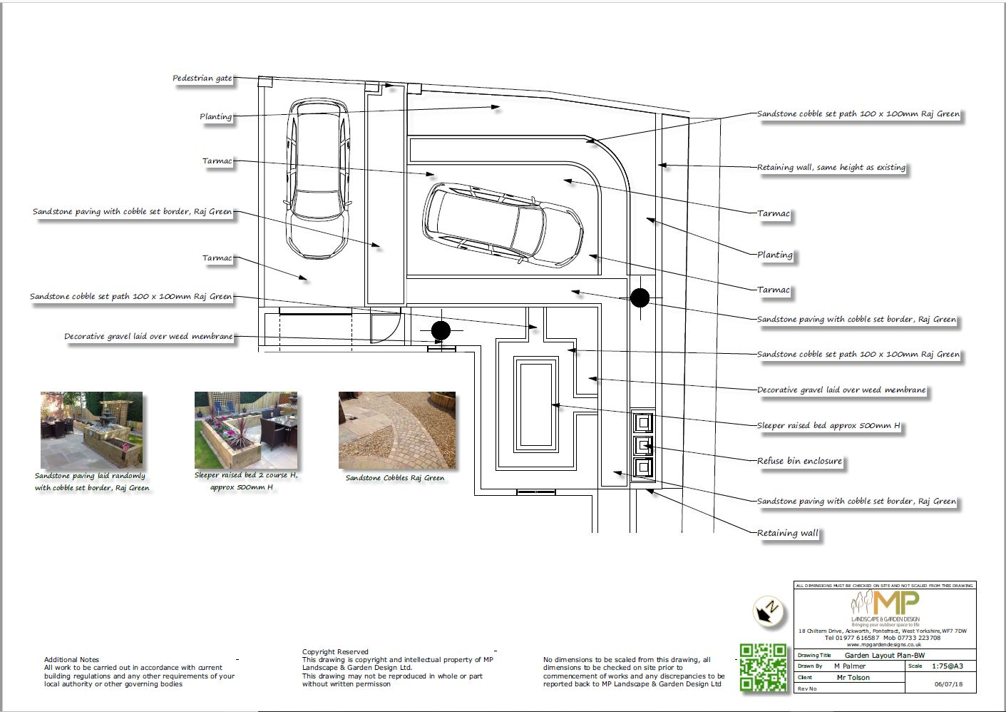 Garden layout plans black and white for a front garden in Kippax, Leeds