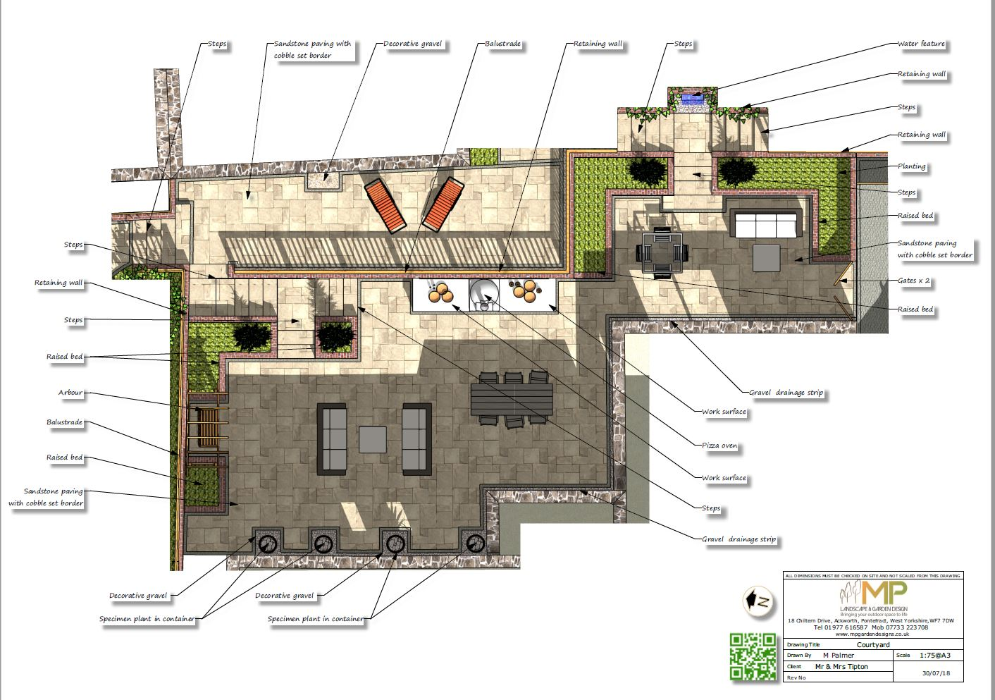 Courtyard layout plans for a property in Pontefract.