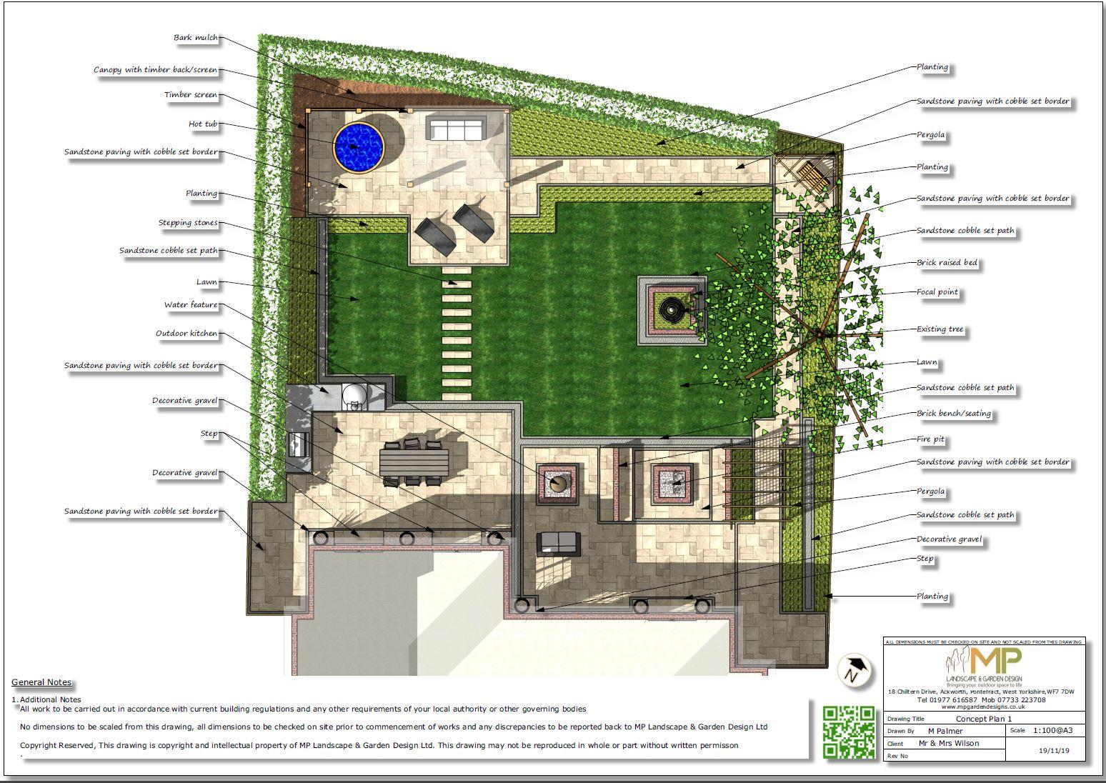 1. Colour concept plan-1, garden designer Wakefield