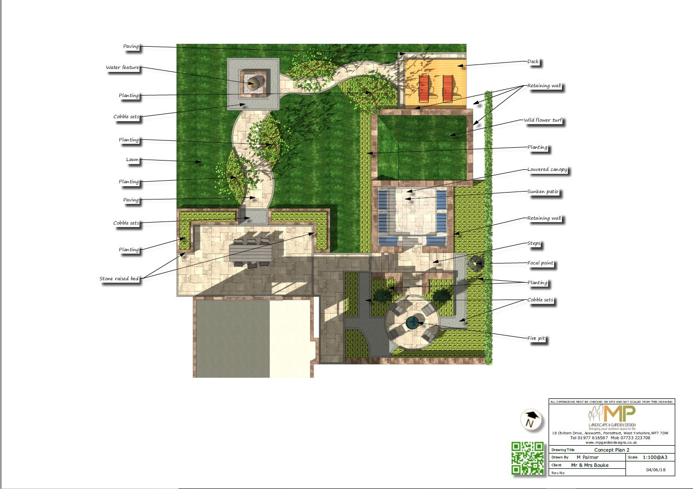 Concept plan-2 for part of a garden in Ackworth.