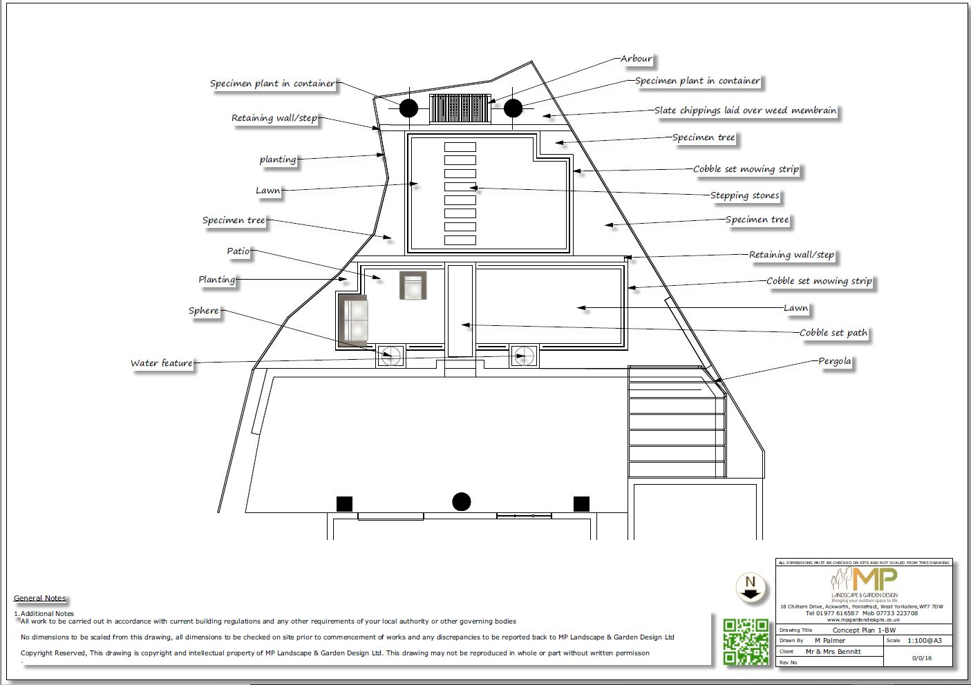 2. Black & white concept plan for a new build property in Wakefield.