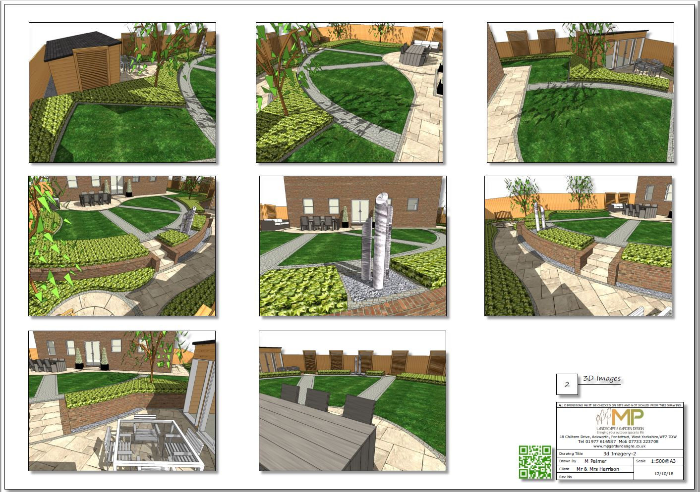 Colour 3D concept plan-2 for a rear garden in Wistow, North Yorshire.