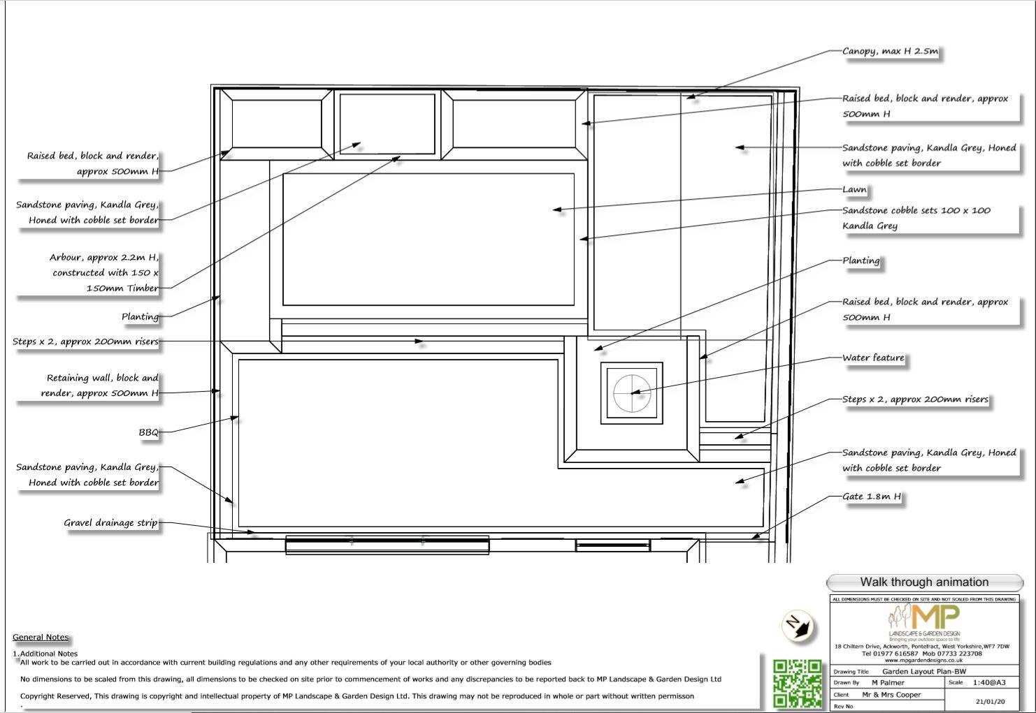2, Garden layout plan for a rear garden in Pontefract.