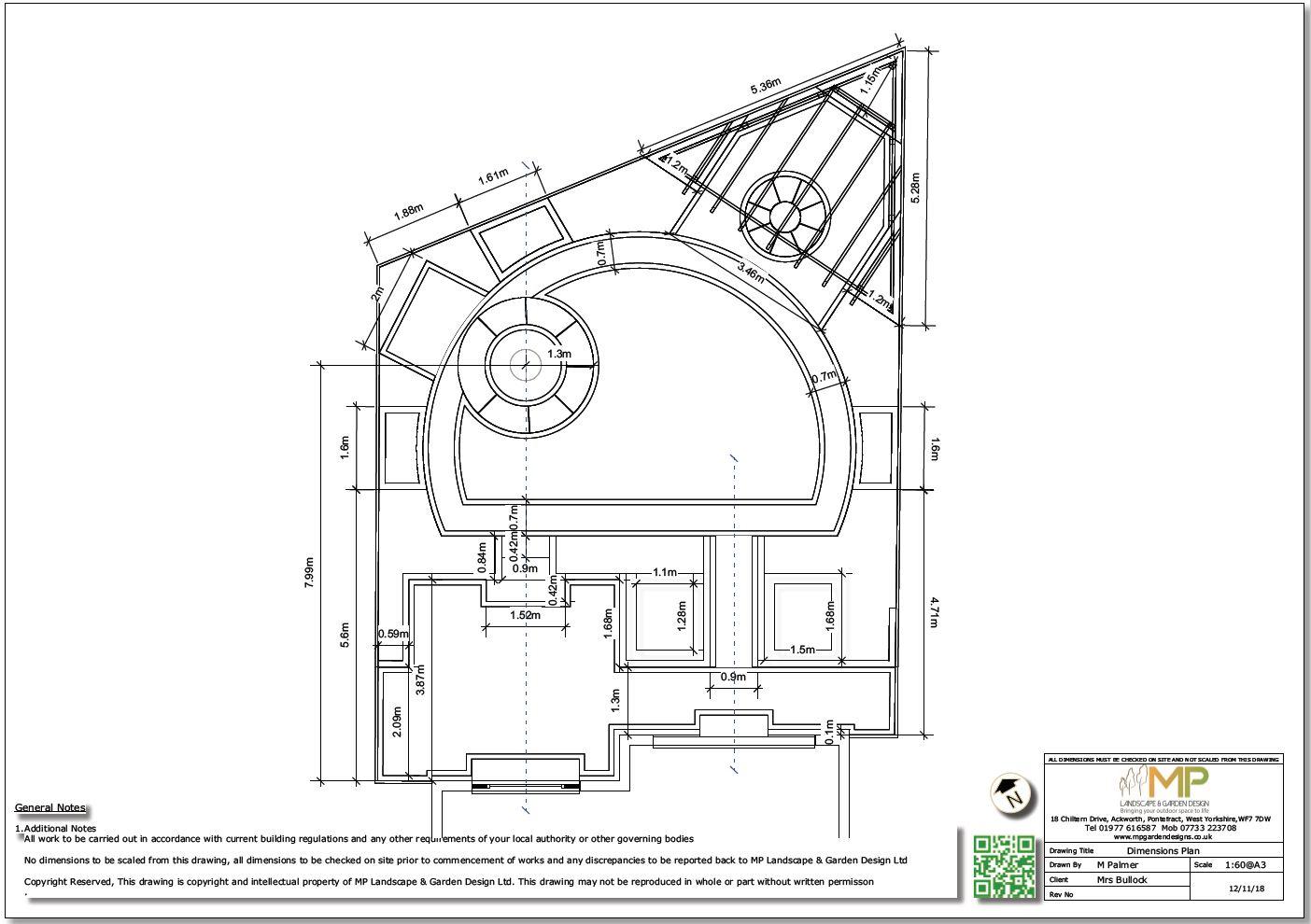 Garden design dimensions plan for a rear garden in Mexborough.