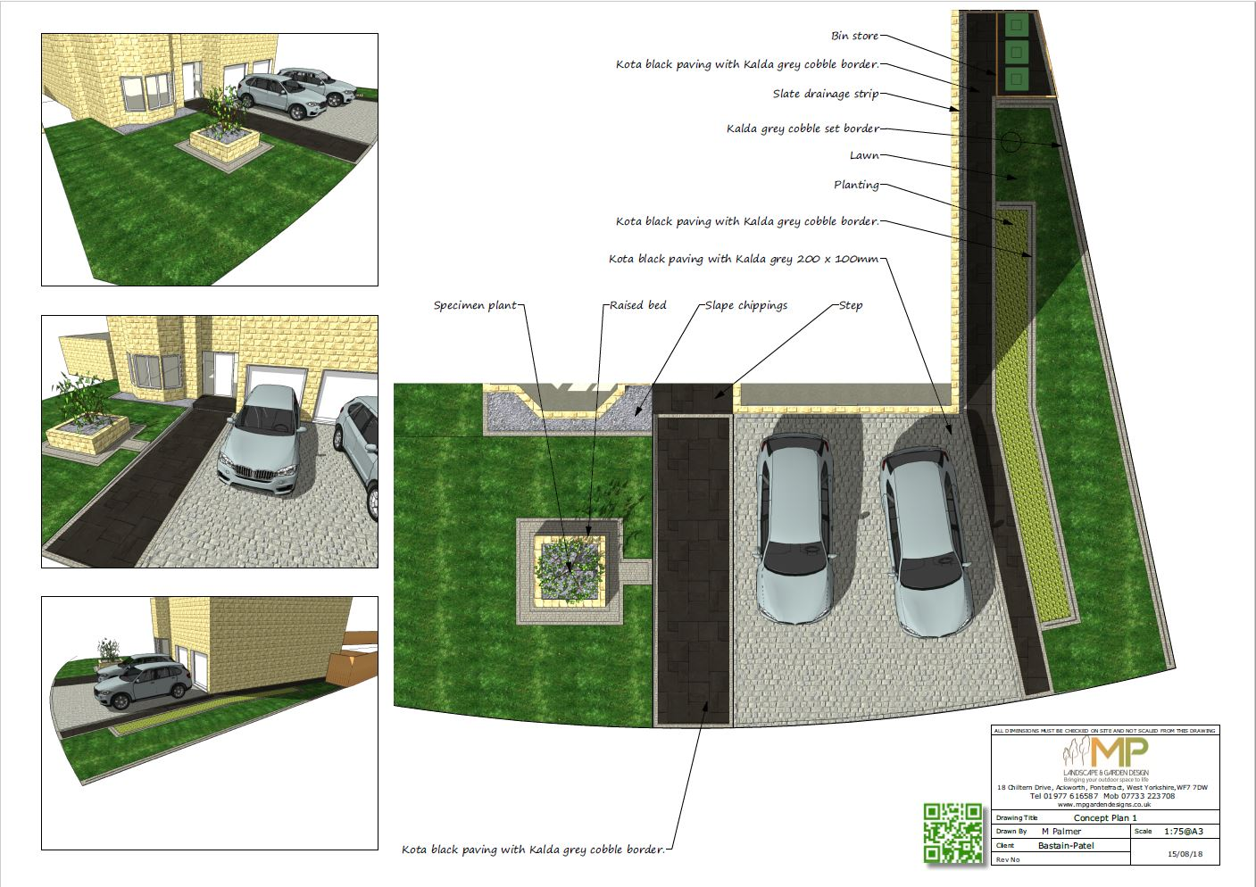 Concept plan-1 for a front garden in Ackworth, Pontefract.