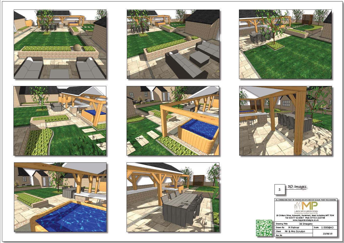 Colour 3D images-1 for a rear garden in Pollington