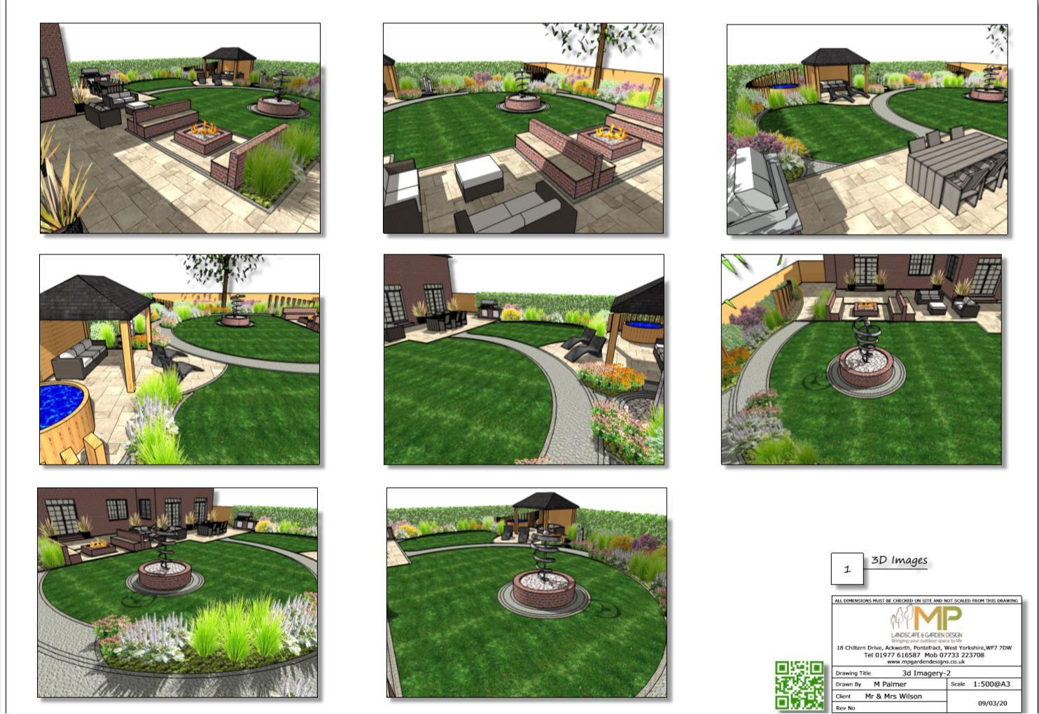2.Garden layout plan, 3D images Wakefield.