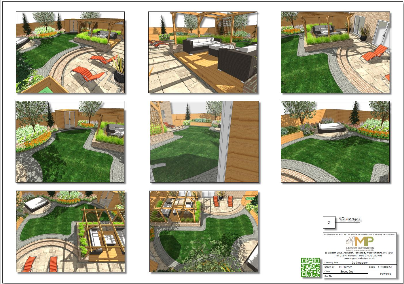 3. Garden design 3D plan for a rear garden in Wakefield.