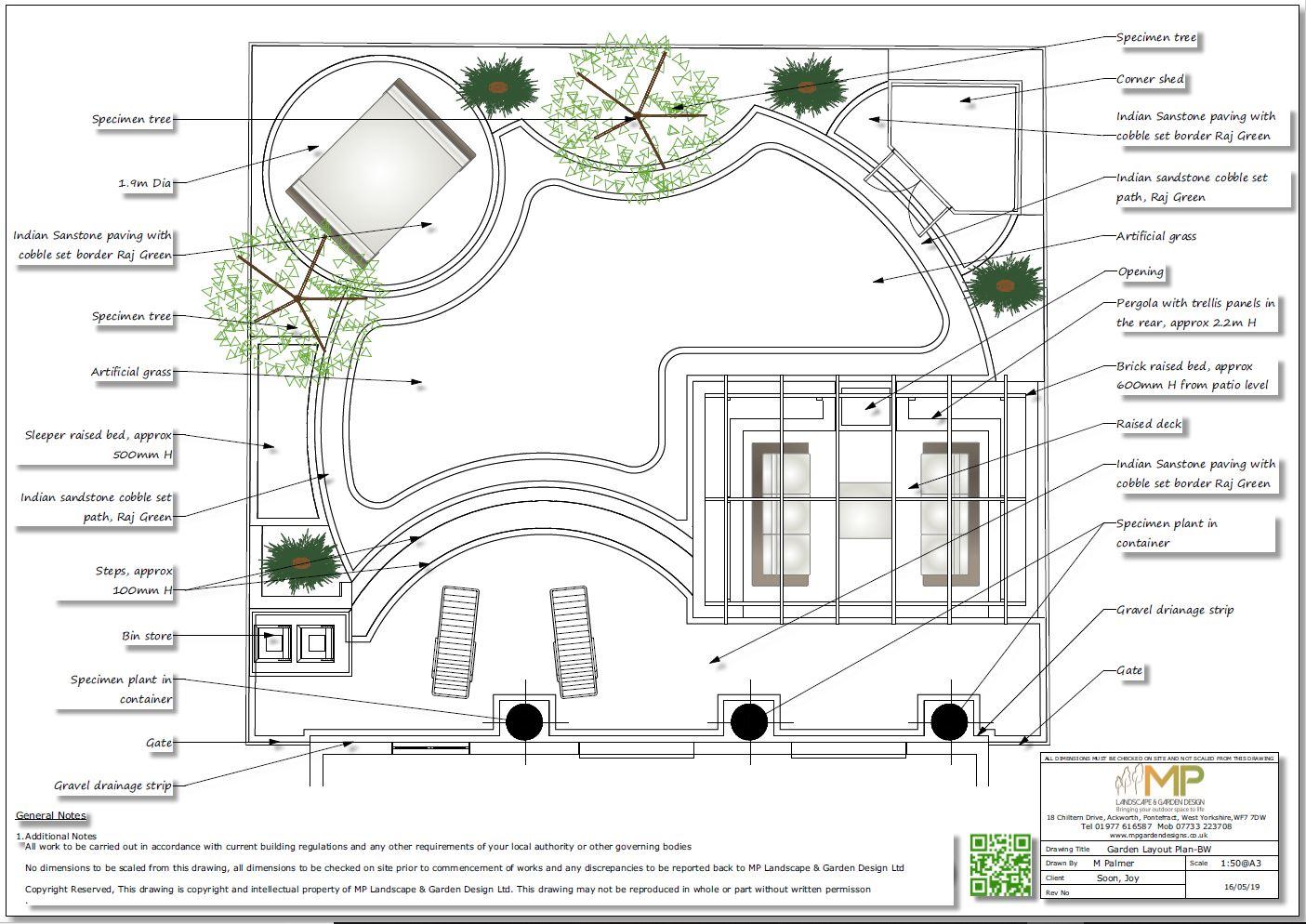 2. Garden design plan for a rear garden in Wakefield.