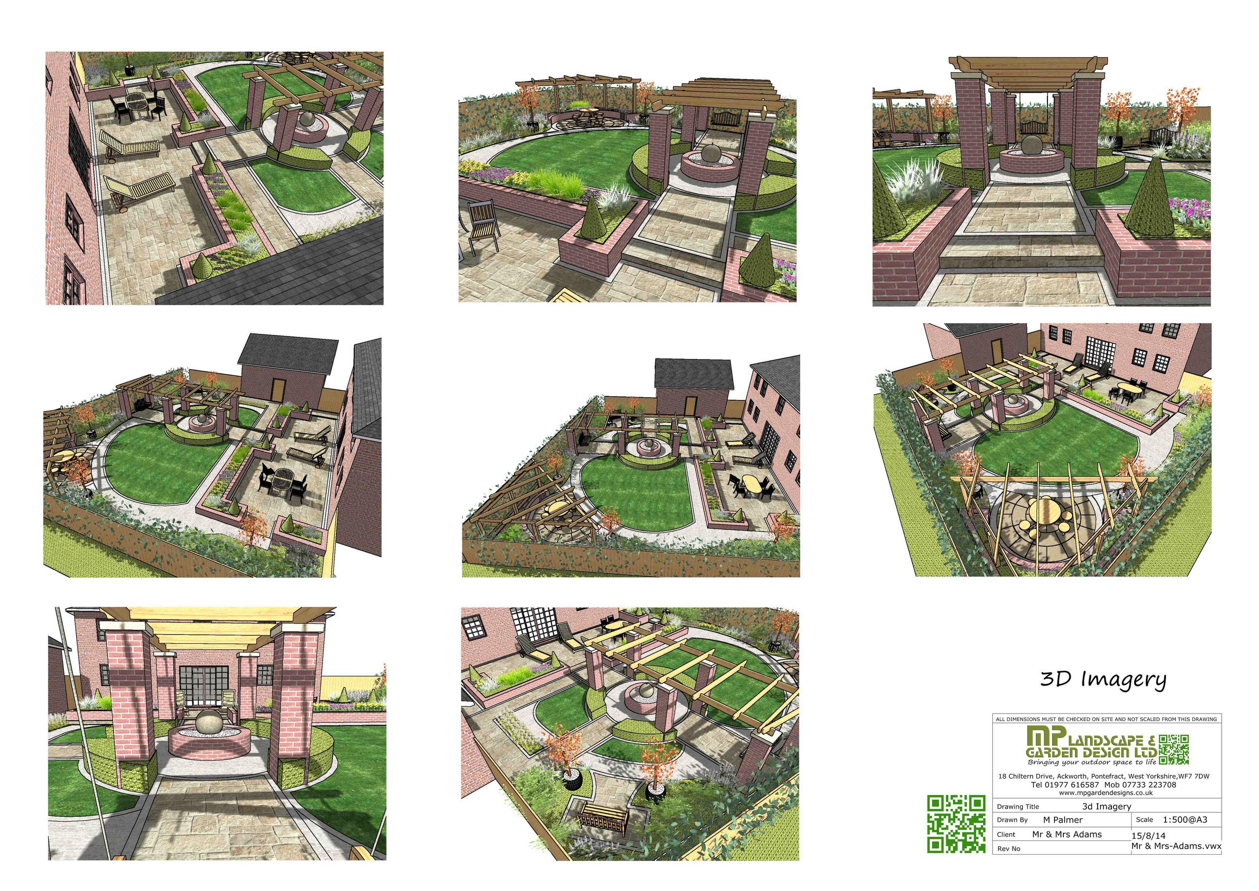 Garden Design layout 3D plans for a garden in Wakefield