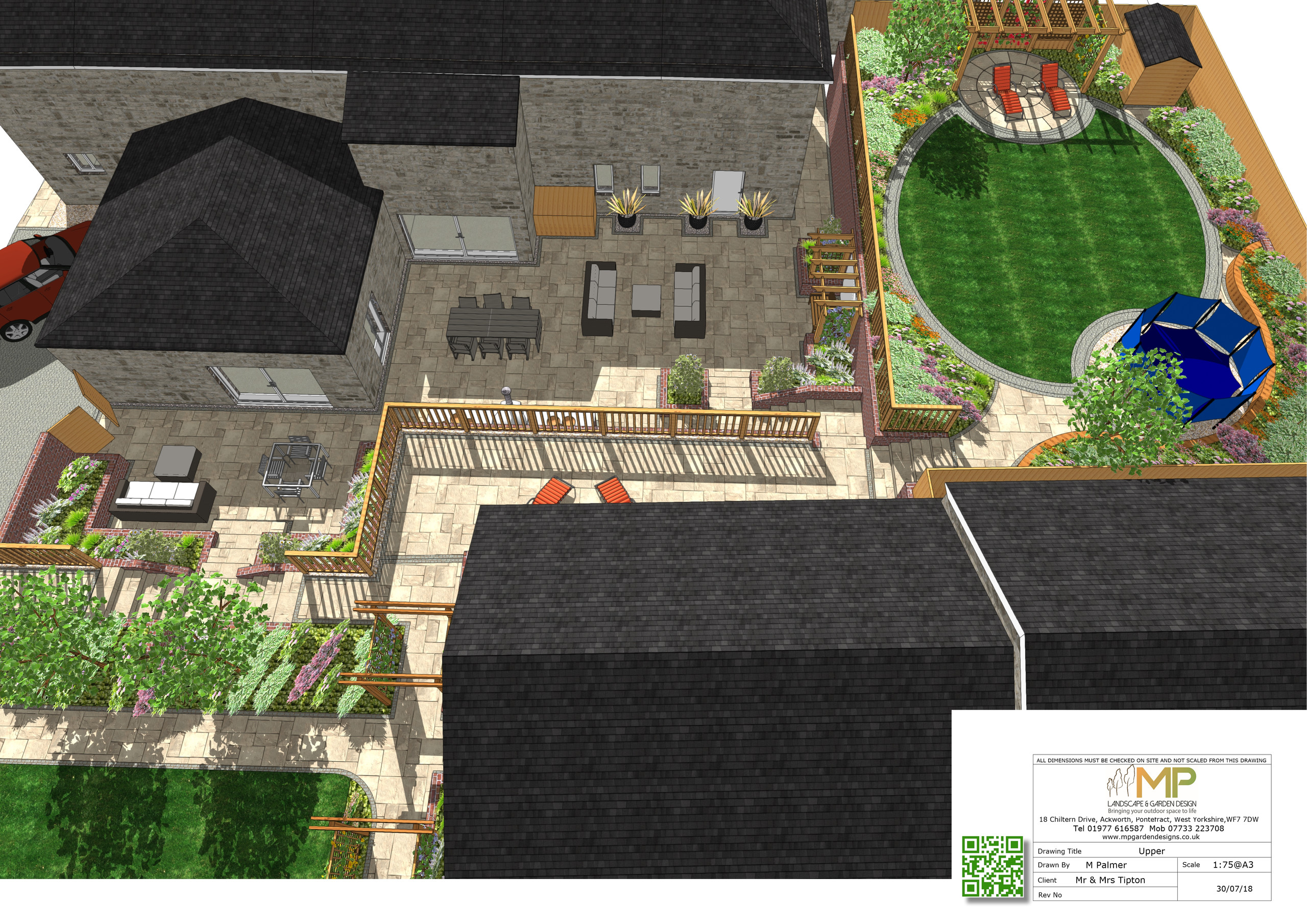 2, 3D views of a landscape design for a barn conversion in Castleford, West Yorkshire.