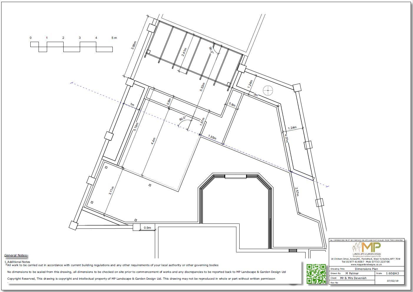 Garden design layout plans for a rear garden in Wakefield, West Yorkshire.