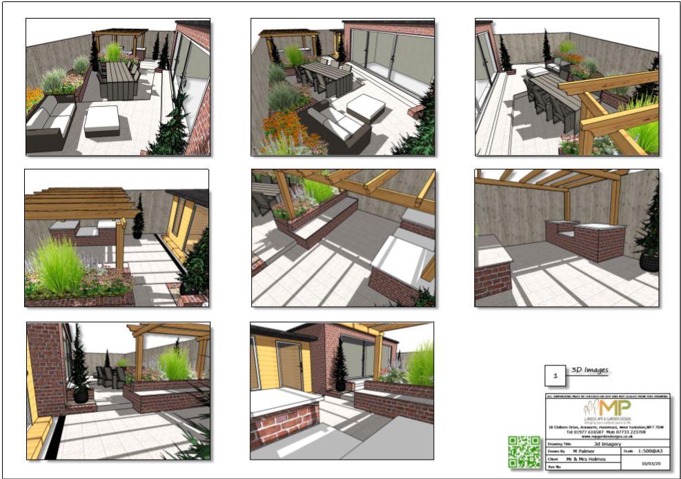 4, Garden layout plan, 3D images Wakefield.