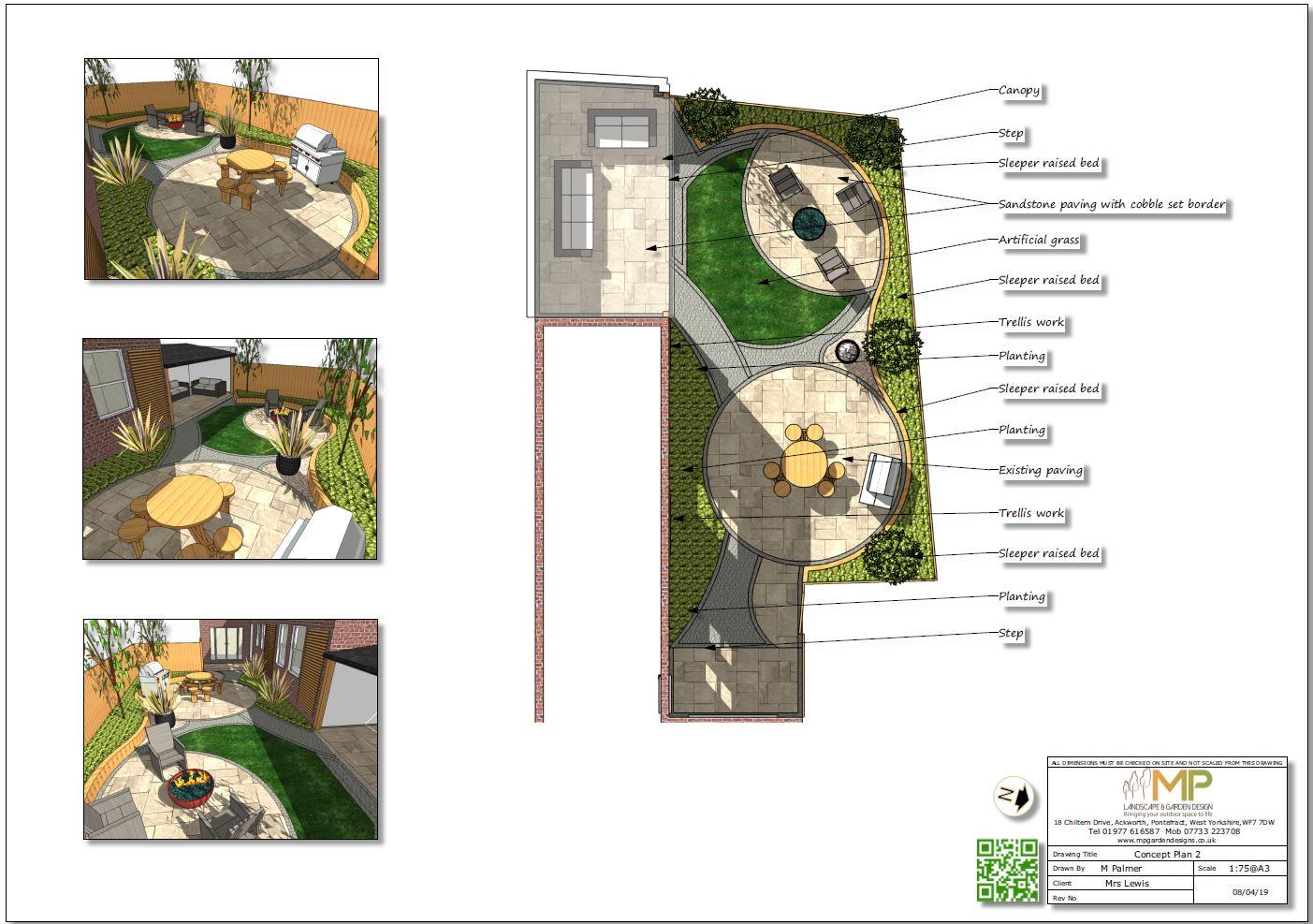 2, concept plan for a rear garden in Castleford