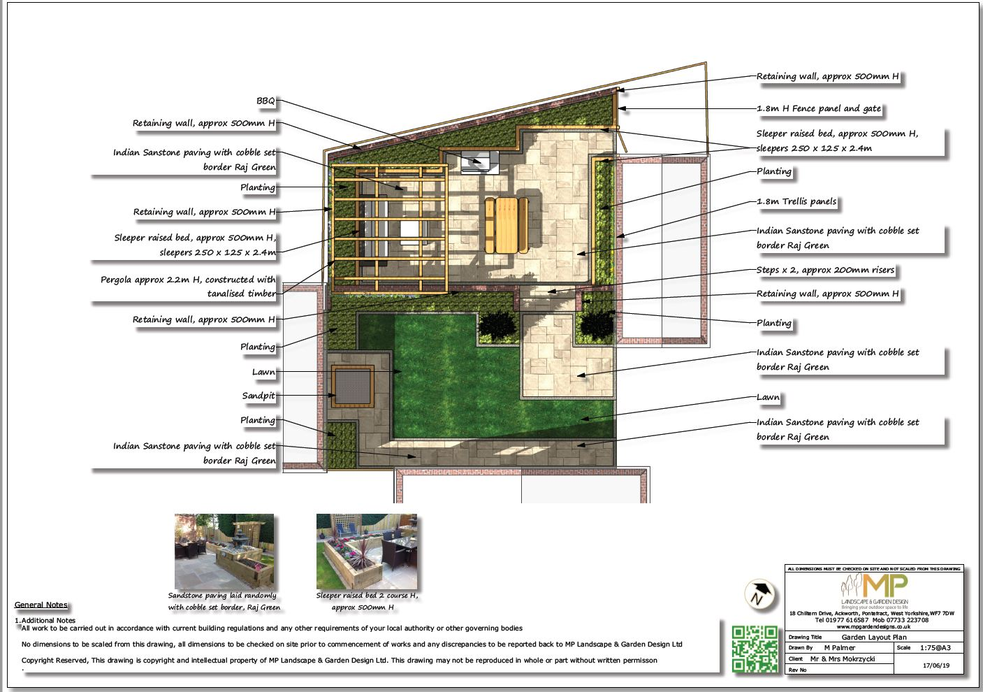 1, Garden layout plan for a property in Normanton, West Yorkshire.