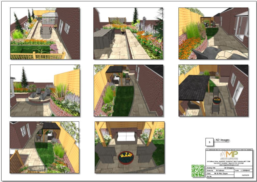 4, Garden layout plan, 3D images for a property in Castleford.