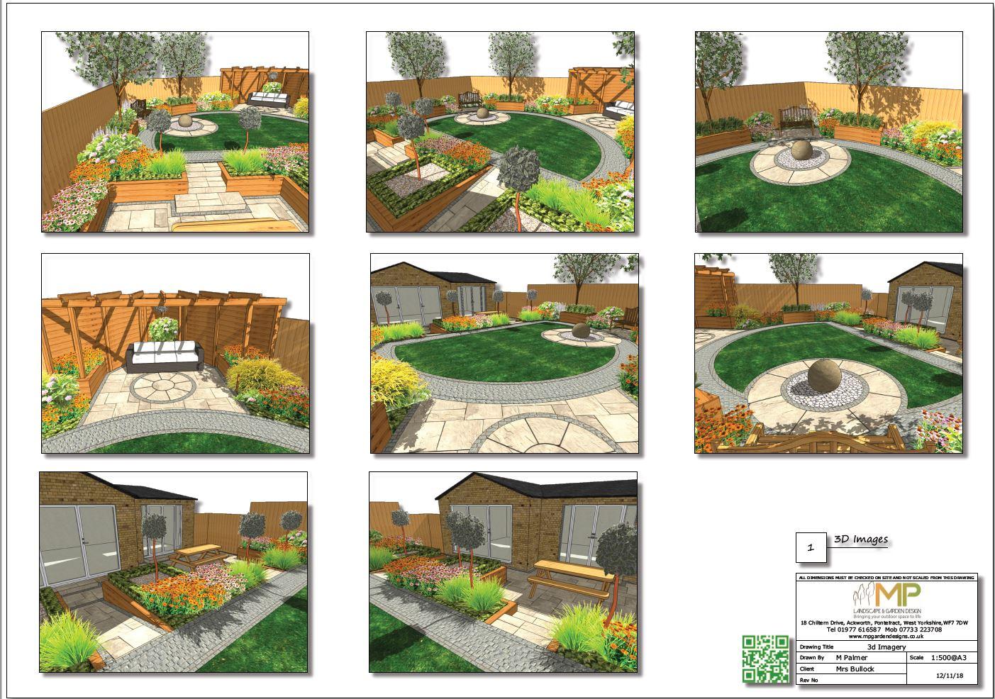 Garden design layout plan 3D for a rear garden in Mexborough.