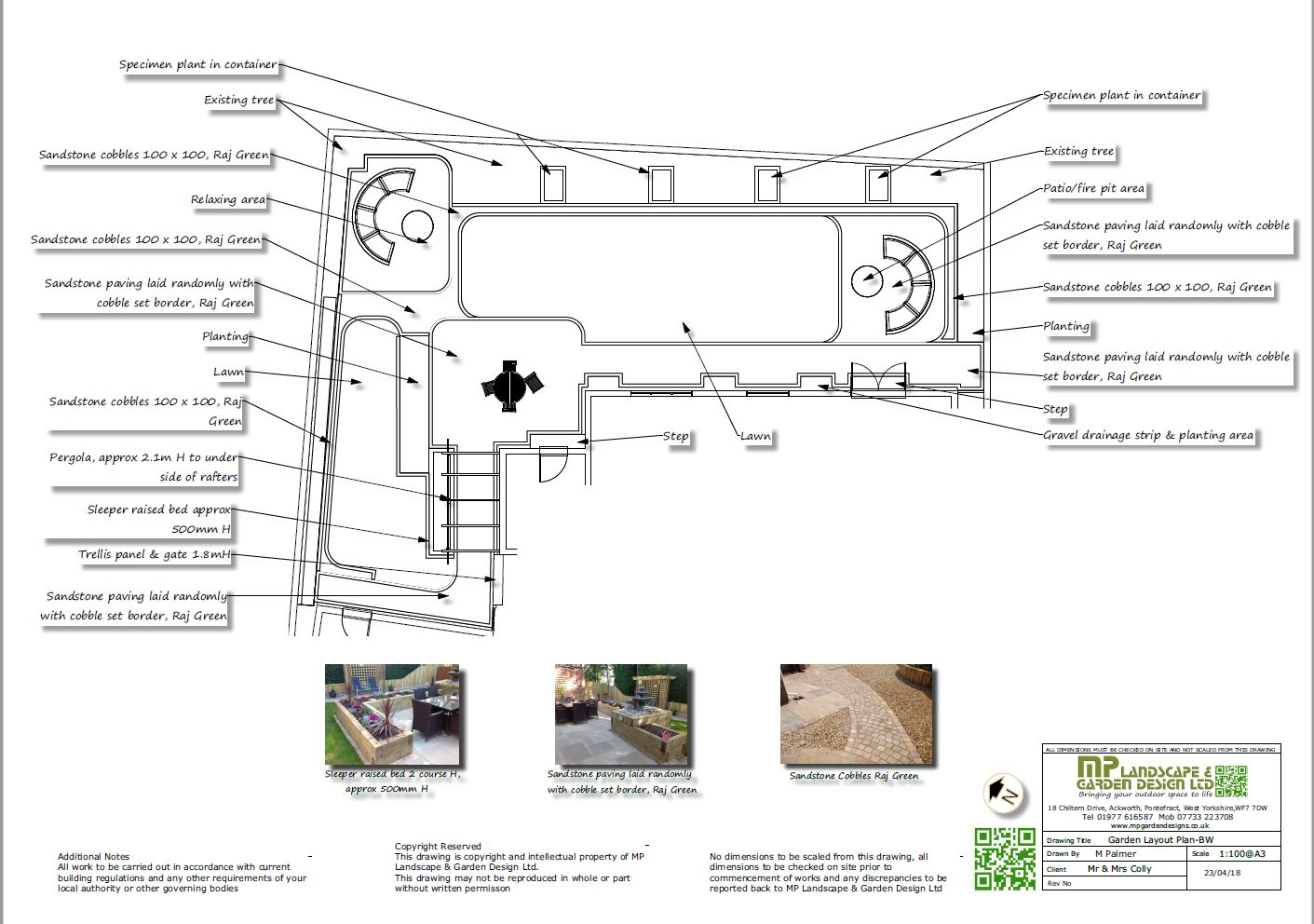 Garden layout plans black and white for a rear garden in Wakefield, West Yorkshire.