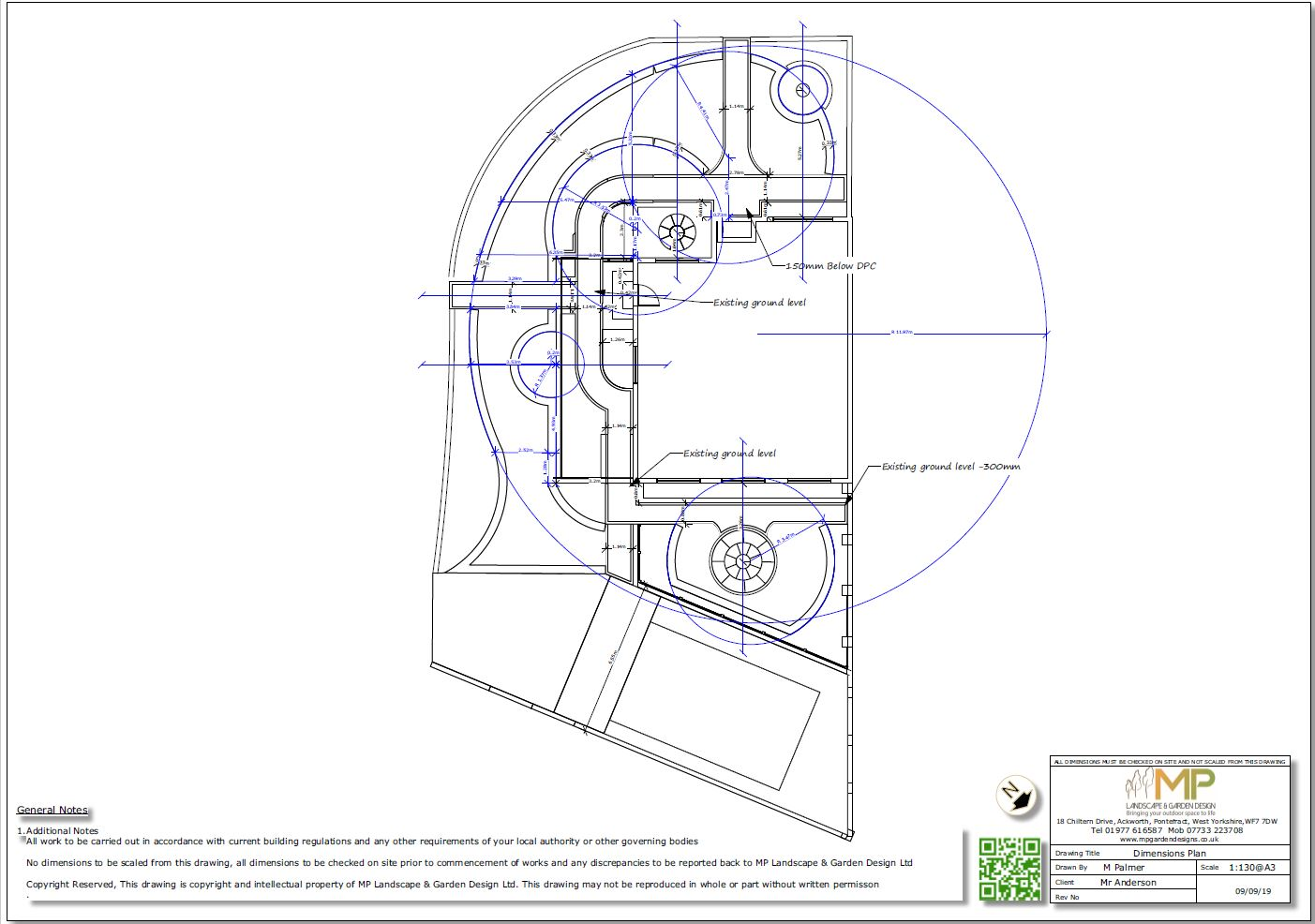 4, Garden layout dimensions plan for a property in Featherstone.