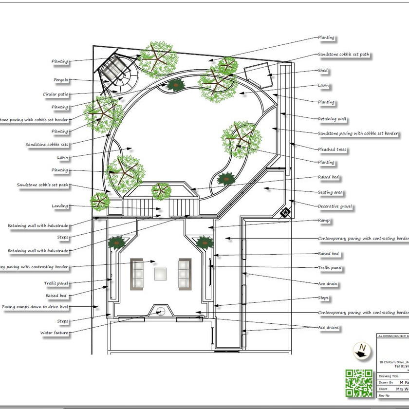Black and white concept Plan-2 for a rear garden in Knottingley