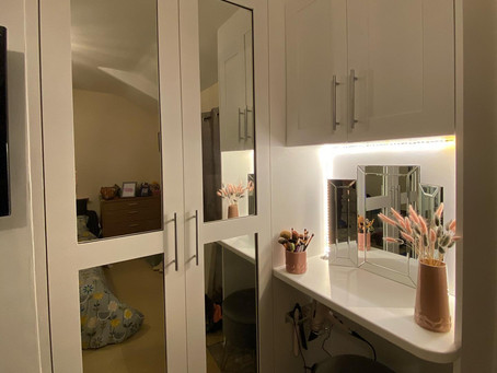 Built in wardrobes and vanity unit.