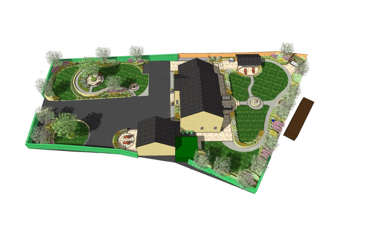 3D image of a landscape design in Wakefield.